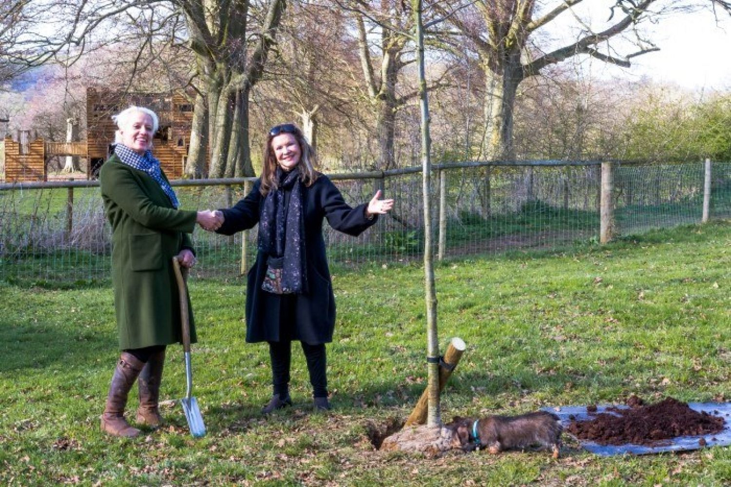 Lady Ashcombe and Nell Gifford planting a tree at Giffords