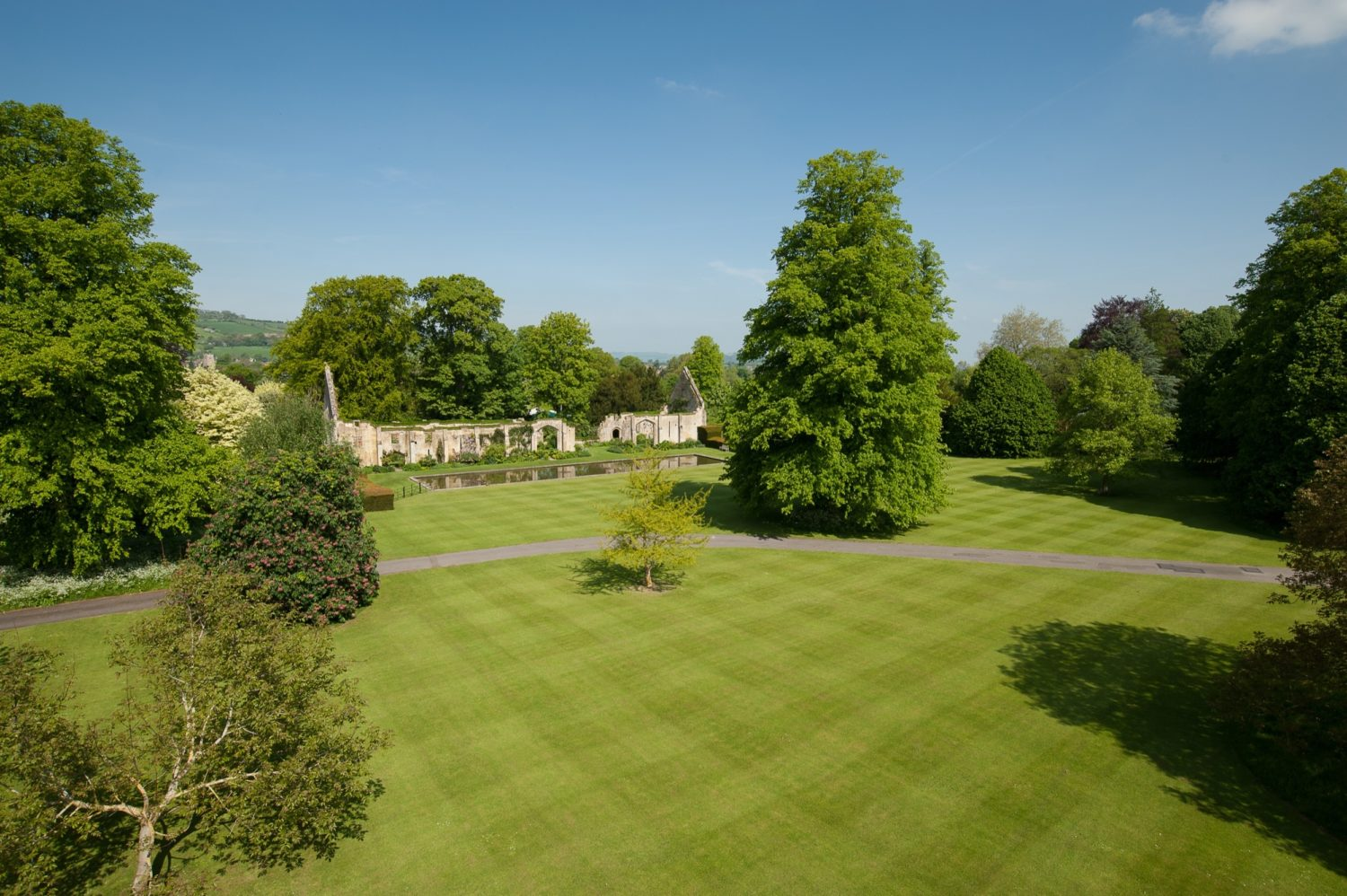 Aerial shot of the North Lawn on a sunny day