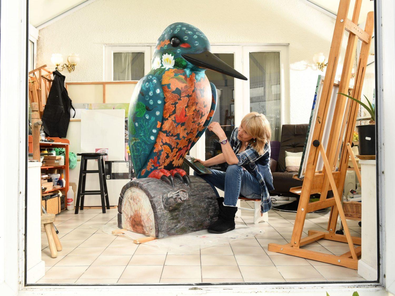 Kingfisher artist painting sculpture in studio