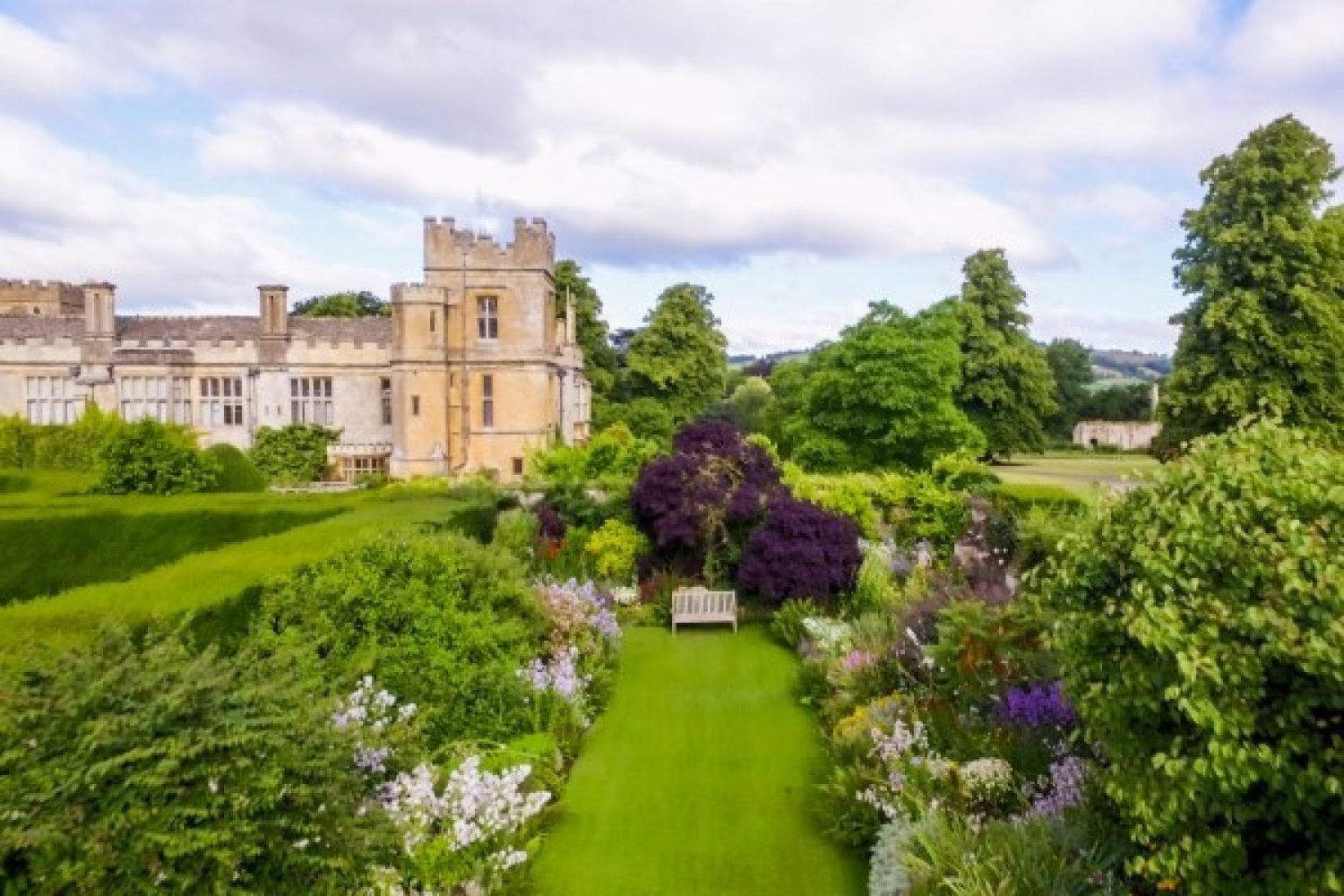 Aerial shot of the Secret Garden at Sudeley Castle