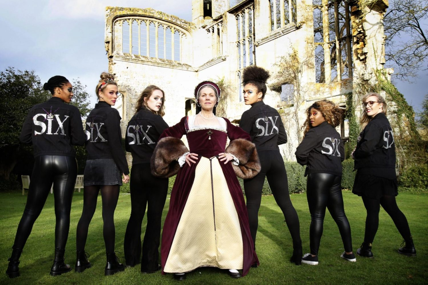 Cast of Six the Musical with traditional Katherine Parr reenactor