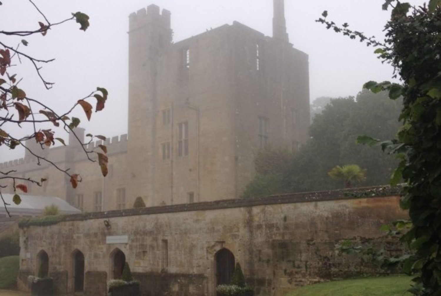A shot of Sudeley Castle's dungeon tower in the fog