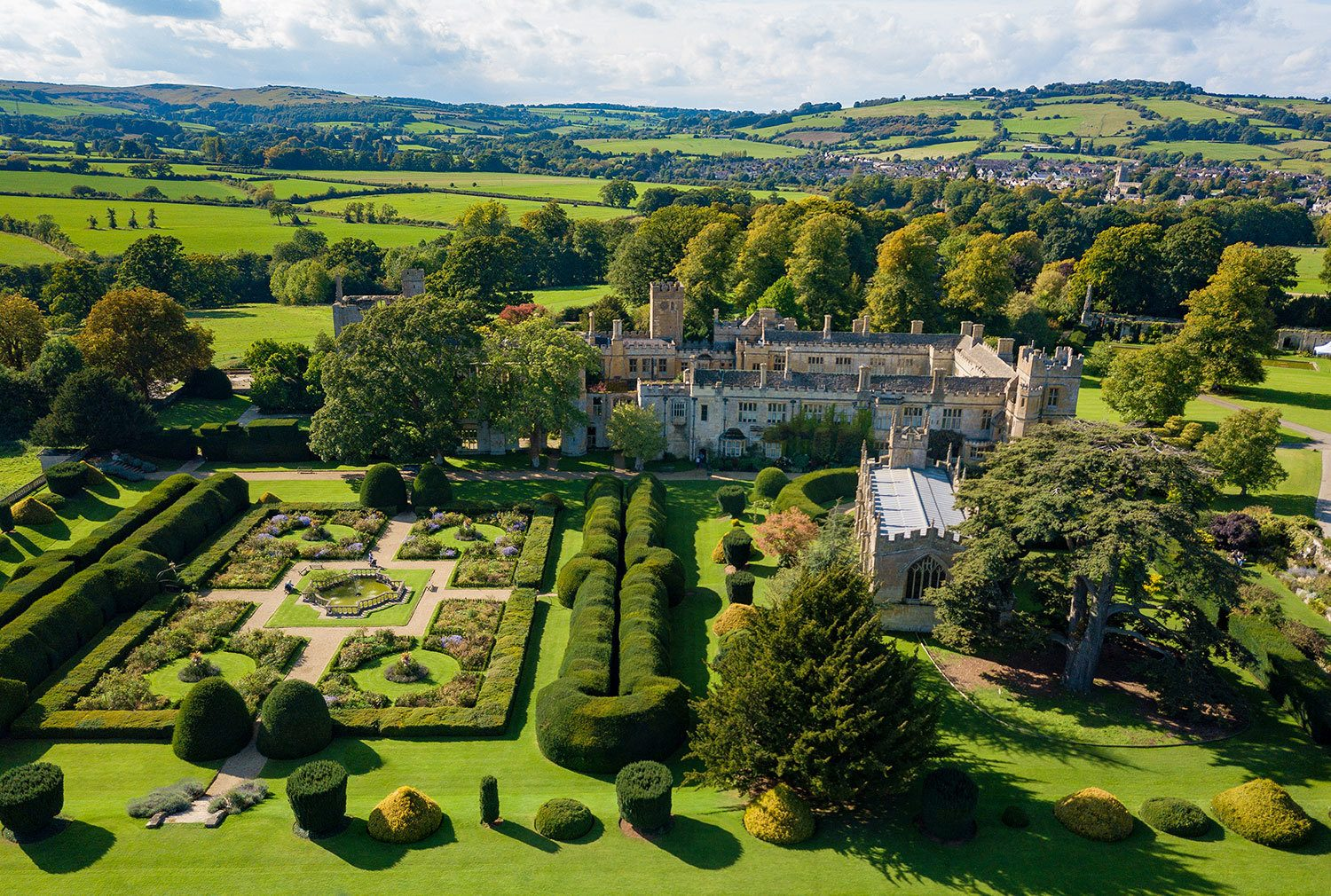 Aerial shot of Sudeley Castle from Queens Garden