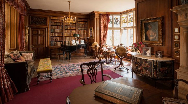 Sudeley Castle Library showing hundreds of books on display