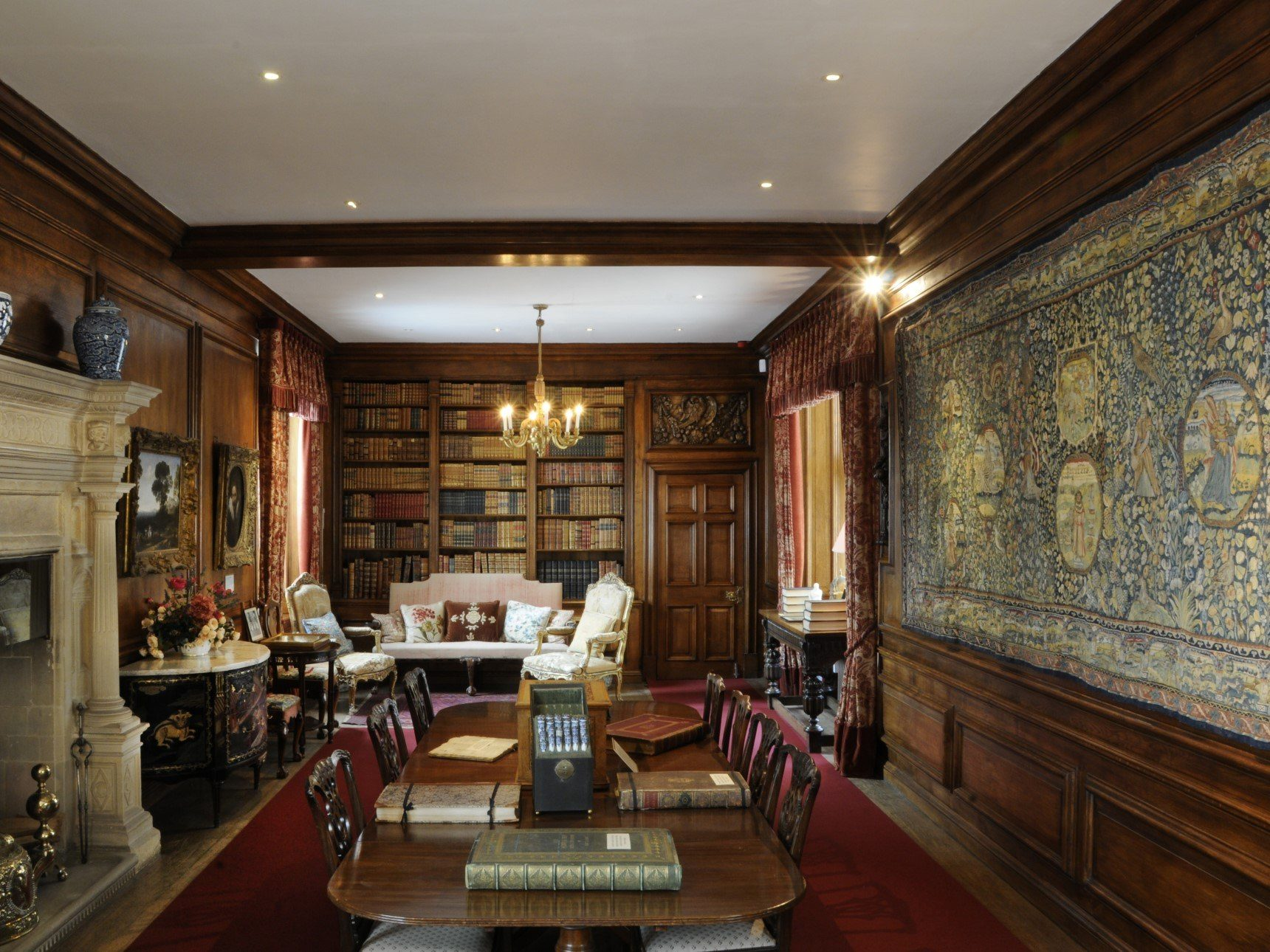 Library showing Sheldon Tapestry hanging on wall
