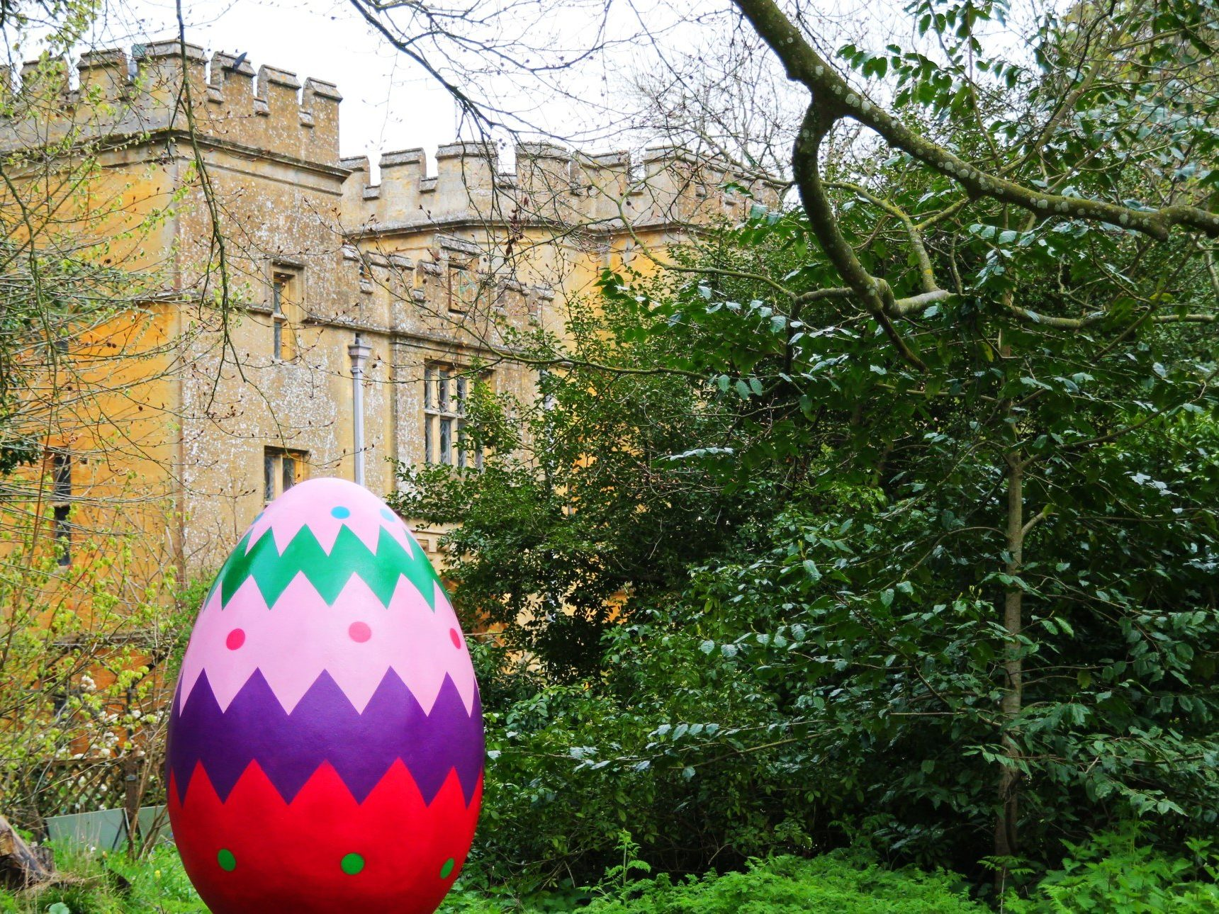 Giant Egg in front of castle gatehouse