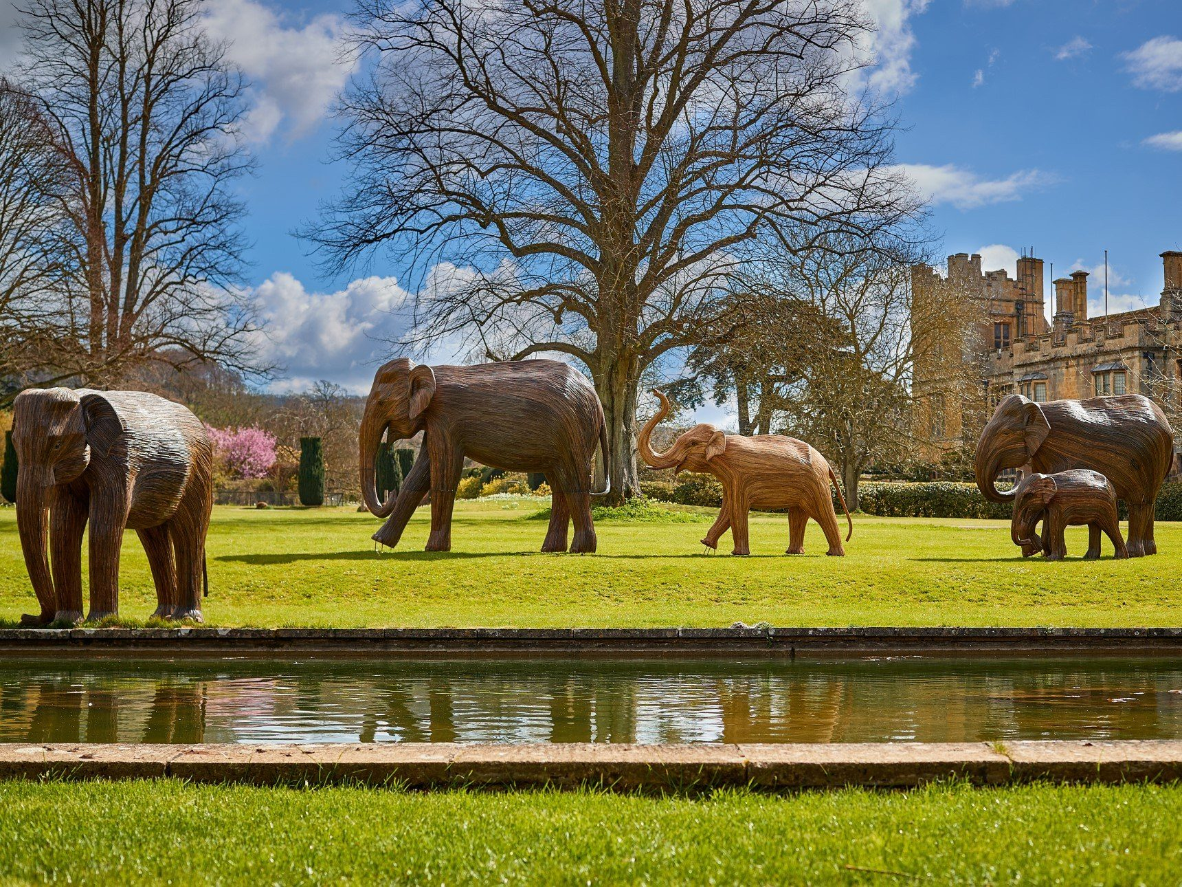 5 Elephant Sculptures in position walking across castle lawn