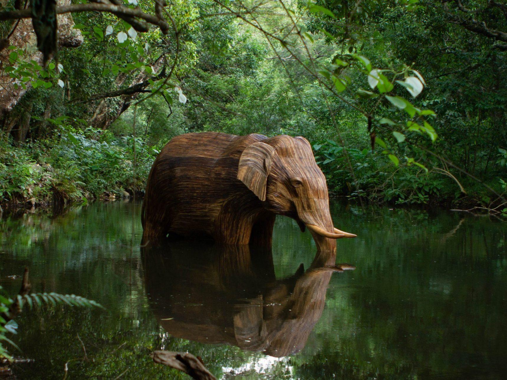 Lone elephant bathing in water