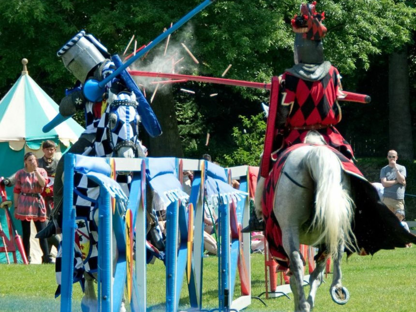 Two knights clash in a jousting competition