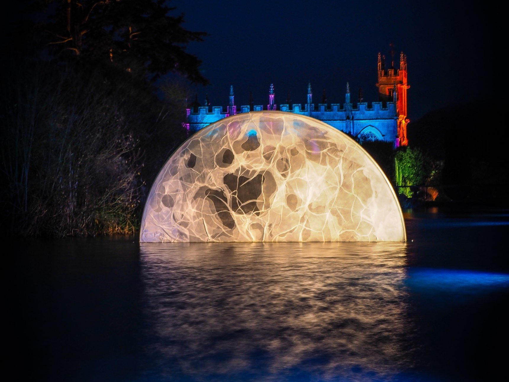 Moon illumination at Sudeley Castle Spectacle of Light