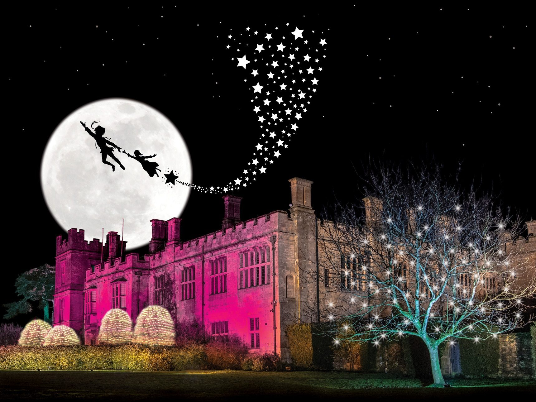 Peter Pan silhouette flying over Sudeley Castle